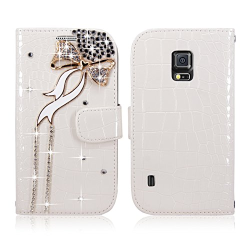S5 Active Case - Cellularvilla Diamond Glitter Bow Design Pu Leather Flip Wallet Pocket Card Slots Case and Detachable Back Cover Pouch for Samsung Galaxy S5 Active G870 (White Bow Tie)