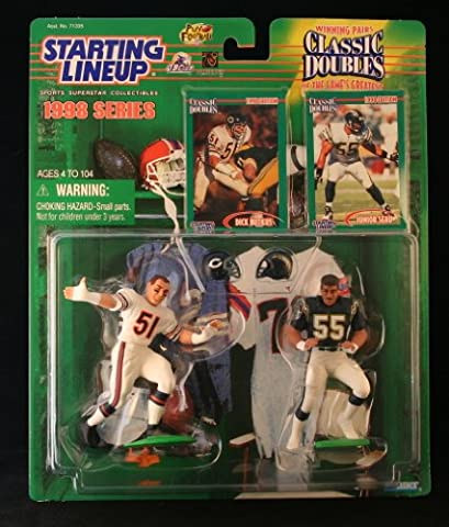DICK BUTKUS / CHICAGO BEARS & JUNIOR SEAU / SAN DIEGO CHARGERS 1998 NFL Classic Doubles * Winning Pairs * Starting Lineup Action Figures & Exclusive Collector Trading (Junior Seau)