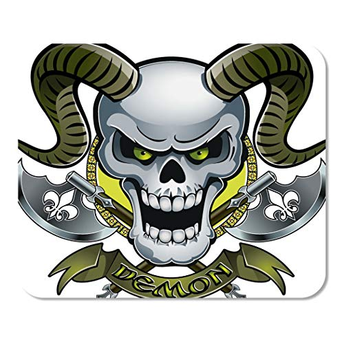 Suike Mousepad Computer Notepad Office Ancient Skull Horns Crossing Battle Axes and Text Demon Home School Game Player Computer Worker 9.5x7.9 Inch