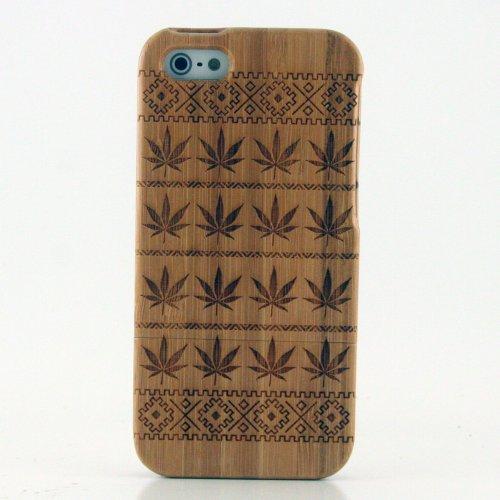 Boho Tronics TM Genuine Bamboo Tribal Pot Cannabis Marijuana Leafs Cover Nature Natural Hard Wood Case - Compatible With Apple iPhone 5 / 5S