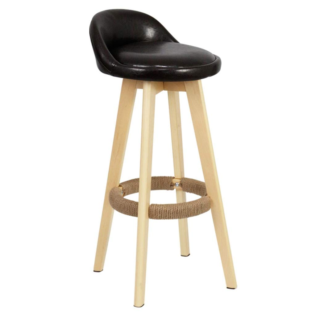 Black Swivel Bar Stools Chairs Height Footrest Kitchen Counter Breakfast Cafe Wooden Legs Premium Quality PU Leather Upholstered,Max Load 200KG