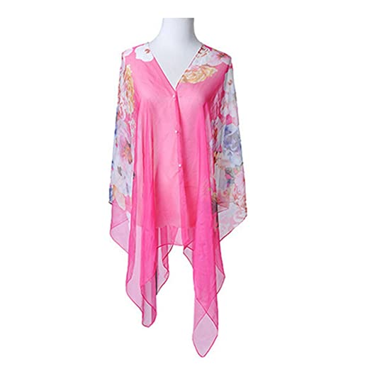 955de7dae6ac1 Image Unavailable. Image not available for. Color: Qingsun Women's Scarf  Floral Chiffon Scarf Flowers Printed Swimwear Beach Cover Up for Bikini ...