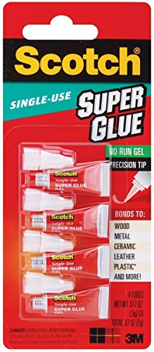 Scotch Super Glue Gel 4 Single Use Tubes (3 Pack) ()