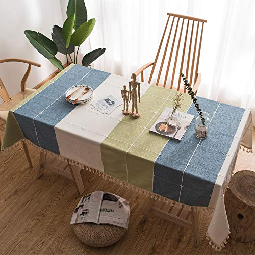 Green Rustic Dining Table - fiercewolf Linen Rectangle Tablecloth Tassel Table Cloth Heavy Weight Cotton Fabric Dust-Proof Table Cover Kitchen Dinning, Rectangle/Oblong, 55 x 62 Inch, Blue Green Plaid