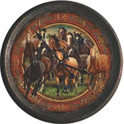 River's Edge Products 15 Rusted Horse Scene Clock