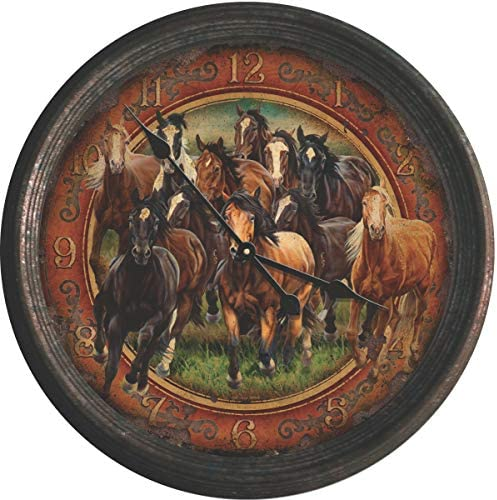 River s Edge Products 15 Rusted Horse Scene Clock
