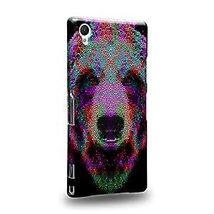 Case88 Premium Designs Art Animal Aztec Face Series Aztec Bear Face Red and Green Carcasa/Funda dura para el Sony Xperia Z1 (No Z1 Compact !)