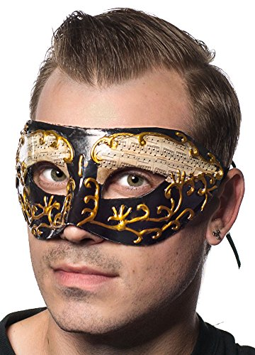 Venetian Black and Gold Music Notes Masquerade Mask by Elevate Costumes (Music Masquerade Mask)
