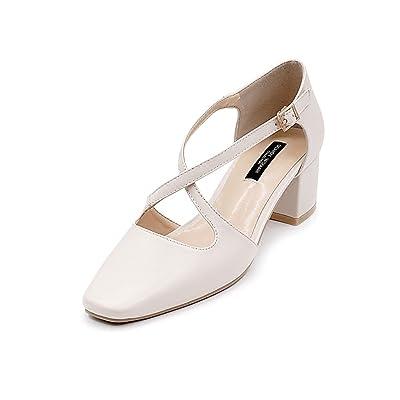 Áspero con los zapatos de las señoras de la cabeza del cuadrado del verano de los altos talones Zapatos elegantes de Baotou de las sandalias romanas ( Color : Beige , Tamaño : 37 )