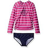 Nautica Toddler Girls' Fashion Rashguard Swim Suit Set with Upf 50+ Sun Protection, Medium Pink Stripe, 2T