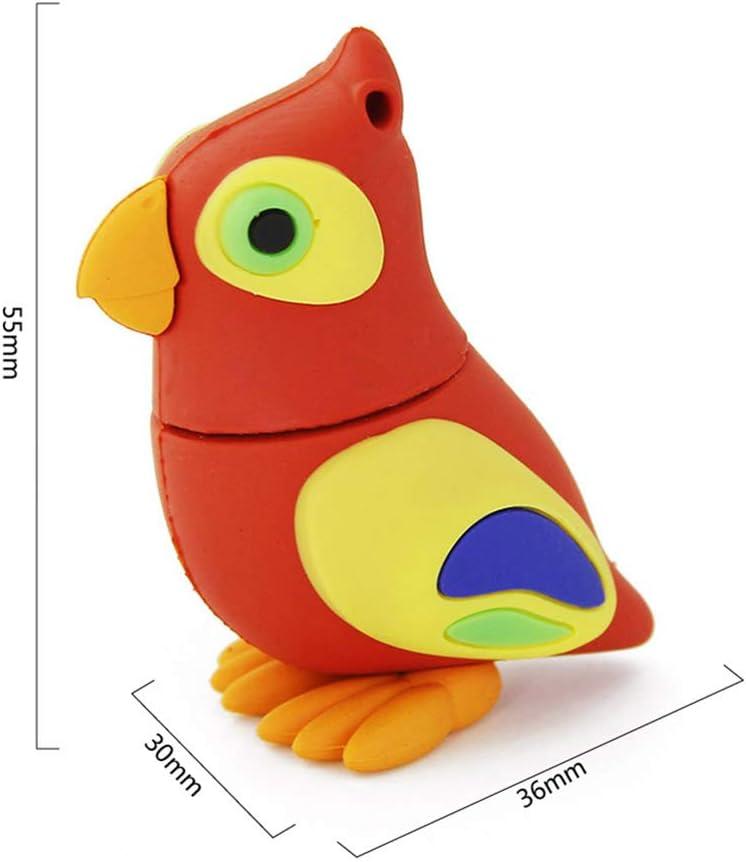Cute Animal Parrot Shape Thumb Drive Pen Drive Cartoon Memory Stick Novelty Pendrive Data Storage FIRSTMEMORY 64GB USB 2.0 Flash Drive 64 GB, Parrot