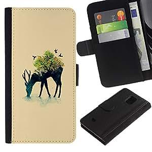 EJOY---Tirón de la caja Cartera de cuero con ranuras para tarjetas / Samsung Galaxy S5 Mini, SM-G800 / --Arte pop de los ciervos
