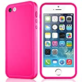 Waterproof case for iPhone 5 5S, eMobile Built-in Screen Protector Clear Face Plate Dust Dirt Proof Shockproof Ultra thin Silicone TPU Plastic Case Cover for Apple iPhone 5 5S (Pink/White)