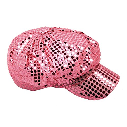 Sequin Newsboy Hat Cap - Windy City Novelties Women's Pink Sequined Newsboy Cabbie Costume Hat