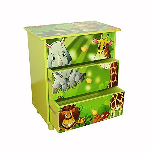 Homestyle4u Kinderkommode Kinderschrank Kinder Schrank Regal Dschungel +Schubladen grün