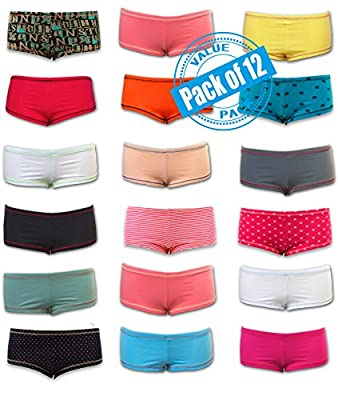 Sexy Basics Womens 12 Pack Grab Bag Cotton Spandex Boyshort Briefs, Colors May Vary