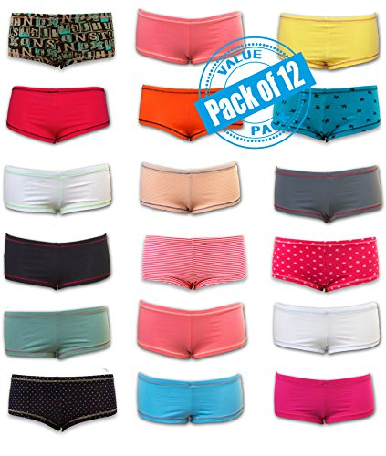 Sexy Basics Womens 12 Pack Grab Bag Cotton Spandex Boyshort Briefs, Colors May Vary,Large