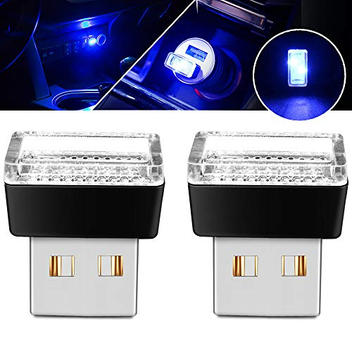 BukNikis USB Simple Atmosphere Lights USB Car Interior Accessories Lamp Universal (Blue, 2 pcs)
