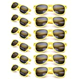12 Packs Wholesales 80's Retro Style Neon Party Sunglasses 400 UV Protection for Party Favors,Photo Booth Prop,Goody Bag Favors,End of Year Giveaway,Birthdays Gifts for Mam & Women (12 Yellow)