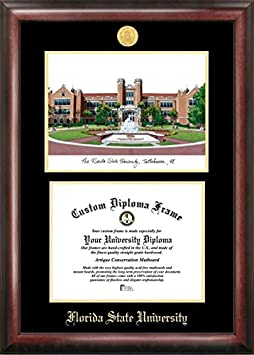 Campus Images FL985LGED Florida State University Embossed Diploma Frame with Lithograph Print, 11 x 14 , Gold