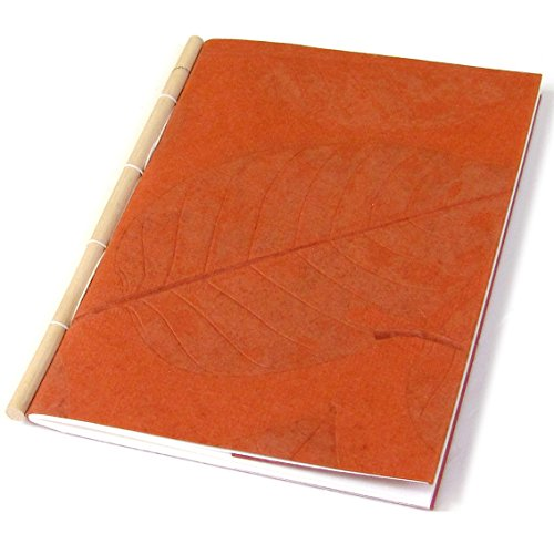 Handmade Natural Leaf 5×7 Note Scratch Sketch Pad Book Recipes Diary Stationery Gifts 30pp Cane Spine (Orange)