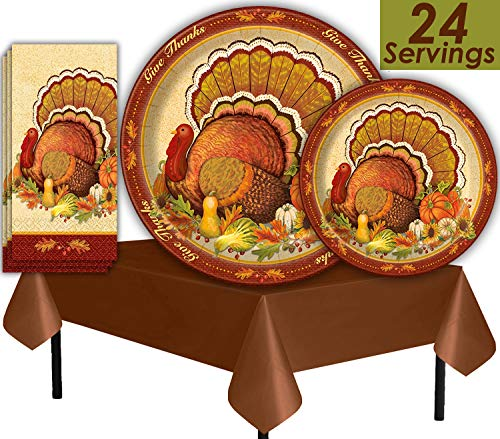 Thanksgiving Turkey Tableware - 24 Pack - Dinner Plates, Dessert Plates, Guest Napkins, Tablecloths - Paper Party Supplies, Harvest Theme, Pumpkin, Turkey and Autumn Leaves with Ivory Background