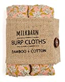 Milkbarn Bamboo Cotton Burp Cloths'' Rose Floral'' - Set of 2