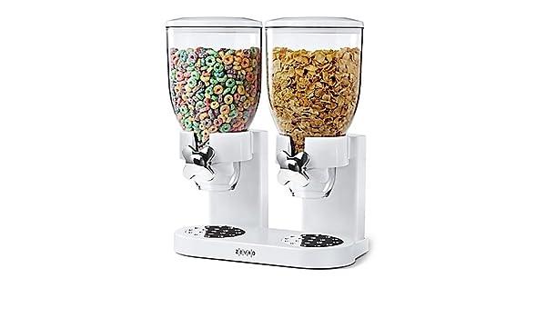 Zevro PROZ - Dispensador doble Indispensable dispensador de cereales y alimentos secos en color blanco: Amazon.es: Hogar