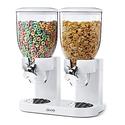 Zevro® Double Indispensable™ Cereal and Dry Food Dispenser in White (Indispensable Dry Food Dispenser)