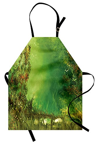 [Rainforest Apron by Ambesonne, Mystic Dreamland Butterflies Fairytale Land Grass Flowers Lizard Romantic Scenic Art, Unisex Kitchen Bib Apron with Adjustable Neck for Cooking Baking Gardening, Green] (Mystic Fairy Costume)