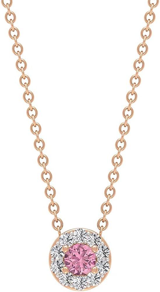 Colgante solitario, piedras preciosas redondas de 1/4 quilates, diamantes HI-SI 3 mm, collar de turmalina, colgante de halo de oro, colgante de promesa, joyería minimalista apilable