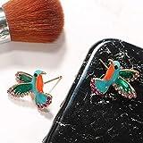 Punk Green Enamel Crystal Hummingbird Bird Stud
