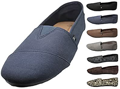 Mens Canvas Slip on Shoes Sneakers. Available in Navy, Gray, Black, and Brown Blue Size: 7