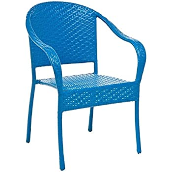 Amazon Com Colorful Wicker Stacking Chair In Blue