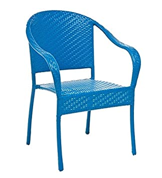Colorful Wicker Stacking Chair, In Blue