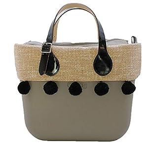 OBAG Borsa o bag mini roccia con sacca interna bordo pon pon nero manico corto vernice 14