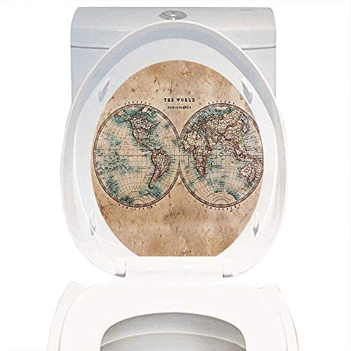 Qianhe-Home Waterproof self-Adhesive Earth Tones Decor Old World Map from 1800s for Geography and History. Toilet Seat Vinyl Art Stickers W15 x L17