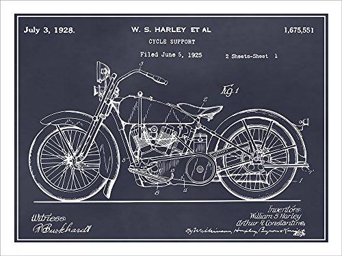 1928 Harley Davidson Motorcycle Patent Print Art Poster UNFRAMED Blackboard 18