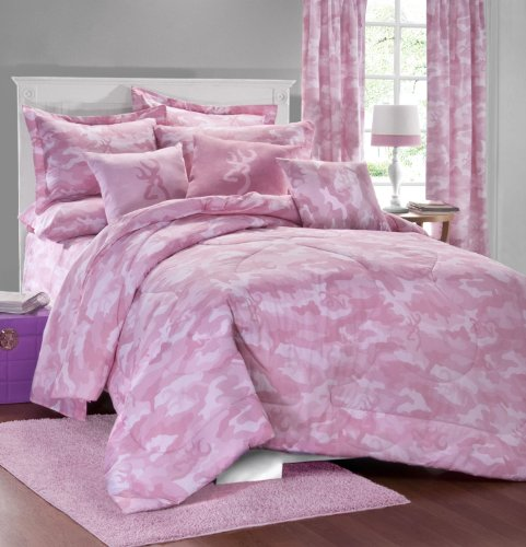 Browning Buckmark Pink Camo 7 Pc Full Comforter Set (Comforter, 1 Flat Sheet, 1 Fitted Sheet, 2 Pillow Cases, 2 Shams) SAVE BIG ON BUNDLING! by Kimlor