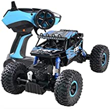 Kingspinner RC Graffiti Rock Crawler, 2.4G 4WD Off-Road Radio Control Car Climber 4-Wheel Drive 1:18 Scale Monster Truck, DIY Fun & Ready to Run Remote Control Buggy Great Gift Toys for Kids (Blue)