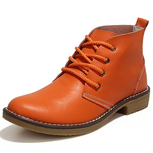 Feetmat Leather Ankle Boots For Women Lace Up Casual Oxfords Shoes Combat Boots (Orange Womens Boots)