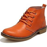 Feetmat  piel Tobillo Botas para mujer Lace Up Casual Oxfords Zapatos Botas Botas de combate