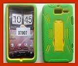LF Green Yellow Havey Duty Dual Layer Hybrid Case with Stand, Stylus Pen, Screen Protector & Wiper For Verizon Motorola Droid Razr M XT907 Razr i XT890 (Stand Green / Yellow)