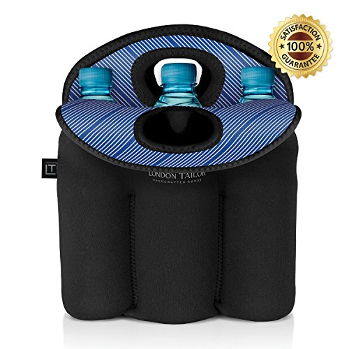 LONDON TAILOR Neoprene Bottle Tote Carrier Cooler - Holds a Six (6) Pack of Beer or Soda Bottles or Cans - Protects Glass from Damage - Insulated Like Coolers - Easy to Carry - BLUE STRIPE DESIGN