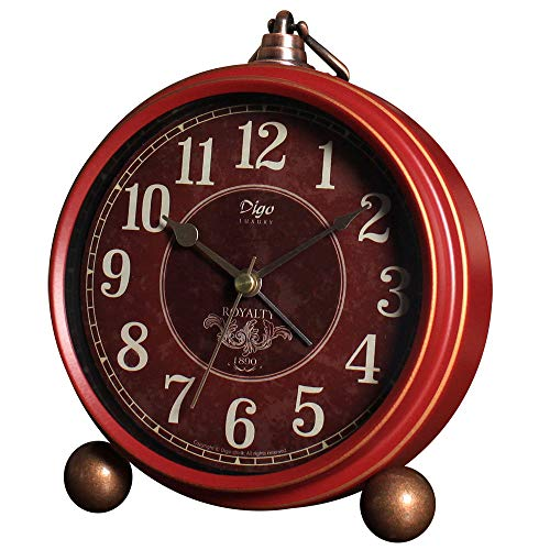 (JUSTUP Red Table Clock,Vintage Decorative Non-Ticking Small Table Desk Alarm Clock with Battery Operated Silent Quartz Movement HD Glass for Bedroom/Living Room/Kitchen/Office/Classroom (A))