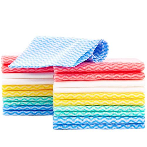 Jebblas Disposable Dish Cloth Dish Towels and Reusable Cleaning Towels, Handy Cleaning Wipes,Handi Wipe 5 Colors, 60 Sheets/Pack, Great Dish Towel, Disposable, Absorbent, Dry Quickly