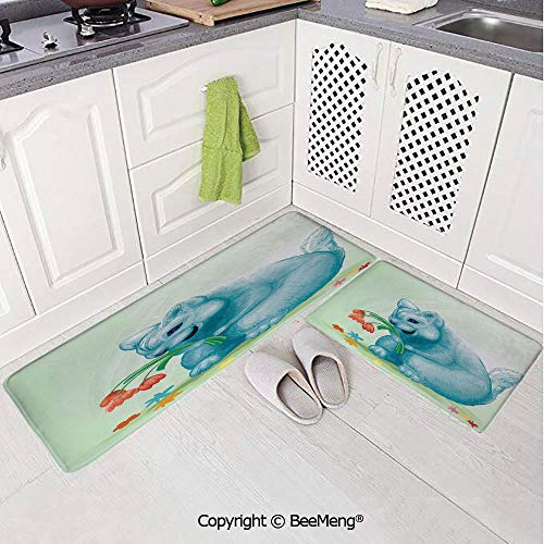 (2 Piece Anti-Skid mat for Bathroom Rug Dining Room Home Bedroom,Bathroom Decor,Animal,Dear Blue Mouse with Tulip Bouquet Caricature Hamster Chinchilla Mascot Rodent)