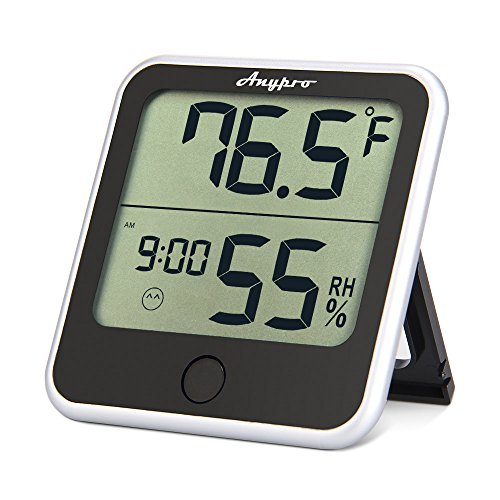 Humidity Monitor - Anypro Hygrometer Thermometer Temperature Humidity Gauge 2-in-1 Digital Weather Station With Humidity Meter Temperature Gauge, Time Display and Built-in Clock, Wireless for House