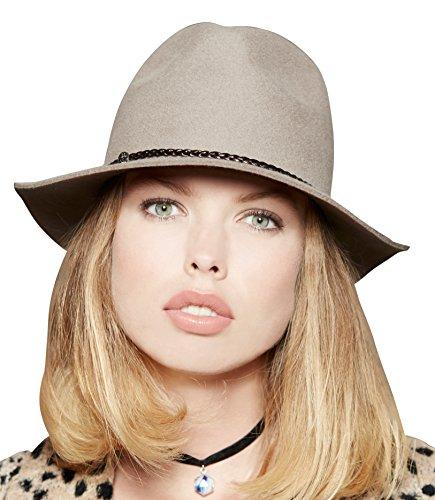 Loevenich Damen Filz Fedora Filz-Hut mit modischem Flechtband, Farbe: Beige