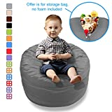 BeanBob Stuffed Animal Bean Bag - Kids Stuffed Animal Storage Bag Chair - Pouf Ottoman for Toy Storage (Medium - 2ft, Grey)